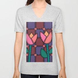 Retro Doodle Tulip Quilt - Burgundy Purple Pink Unisex V-Neck