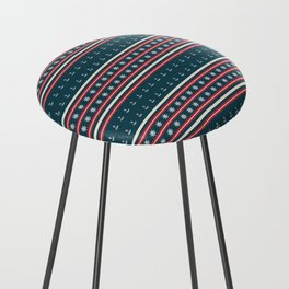 Ships Ahoy Blue/Red Stripe Counter Stool