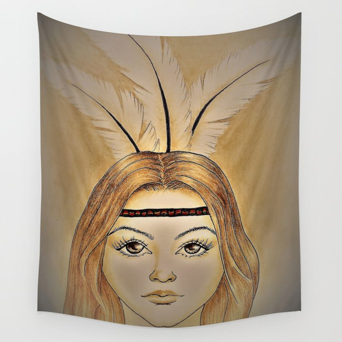 Lady with feathers Wall Tapestry