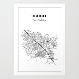 CHICO MAP PRINT Art Print