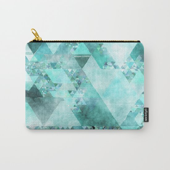Triangles in aqua - Modern turquoise green blue triangle pattern Carry-All Pouch