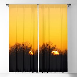 Sunset and cranes natural landscape from France Blackout Curtain