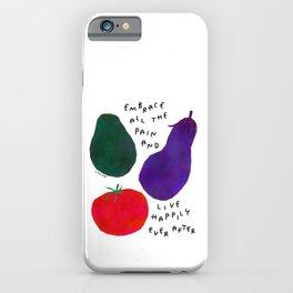 Avocado Tomato Eggplant Vegetables Illustration Life Typography Positive Happy Quotes iPhone Case