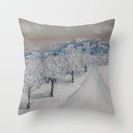 Winter path, snowy landscape at sunrise, Christmas scenery, original painting by Luna Smith Throw Pillow