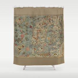 Carta Marina et Description 1539 Shower Curtain