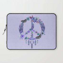 Purple Watercolor Peace Symbol Floral Dreamcatcher Laptop Sleeve