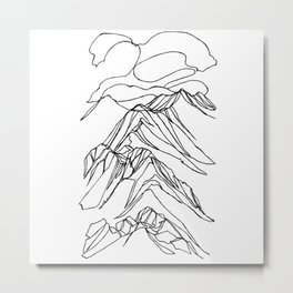 Ymir Mountain Ridges :: Single Line Metal Print