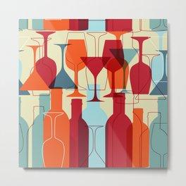 Wine bottles and glasses Metal Print