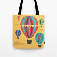 hot air balloons Tote Bags featuring Hot Air Balloons by Marina Design