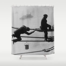 Brooklyn Bridge Painters Vintage Photograph (1915) Shower Curtain