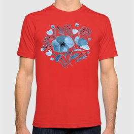 Flower bouquet with poppies - blue T-shirt