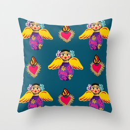 Angels and Corazones (flaming hearts) Throw Pillow