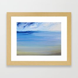 Landscape Blue and yellow Seascape waves sky clouds Framed Art Print