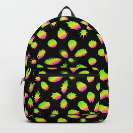 The pattern of neon blots. Abstract pattern of rainbow blots on a black background. Backpack