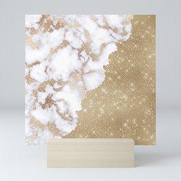Girly Chic Modern Glam Gold Glitter Marble Pattern Mini Art Print