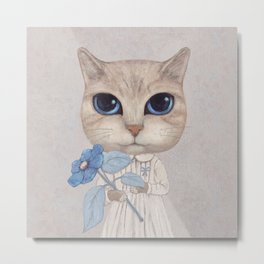 Cat with a blue flower Metal Print