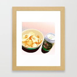 Potato chips and Heineken Framed Art Print