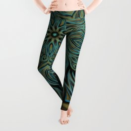 Teal and Gold Mandala Swirl Leggings