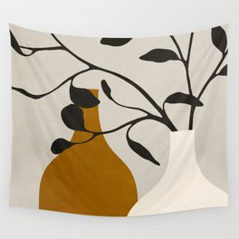 MINIMAL ART - VASES AND LEAVES 2 Wall Tapestry