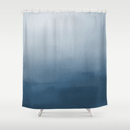White & Blue Abstract Watercolor Blend Pairs To 2020 Color of the Year Chinese Porcelain PPG1160-6 Shower Curtain