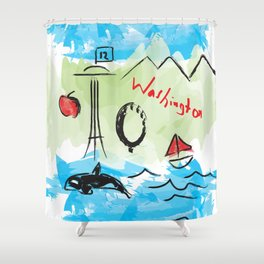 City scape - Seattle, Washington Shower Curtain