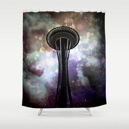 Space Needle - Seattle Stars and Clouds at Night Shower Curtain