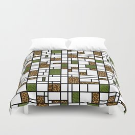 Modern Art Crocodile Giraffe and Leopard Skin Grid Pattern Duvet Cover