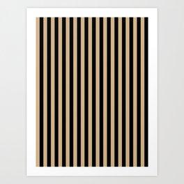 Tan Brown and Black Vertical Stripes Art Print