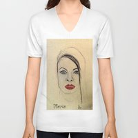 fierce V-neck T-shirts featuring Fierce by Darla Designs