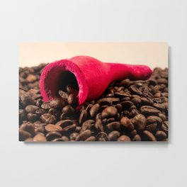 Red horn on coffee Metal Print