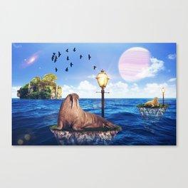 Walrus in a walk by GEN Z Canvas Print
