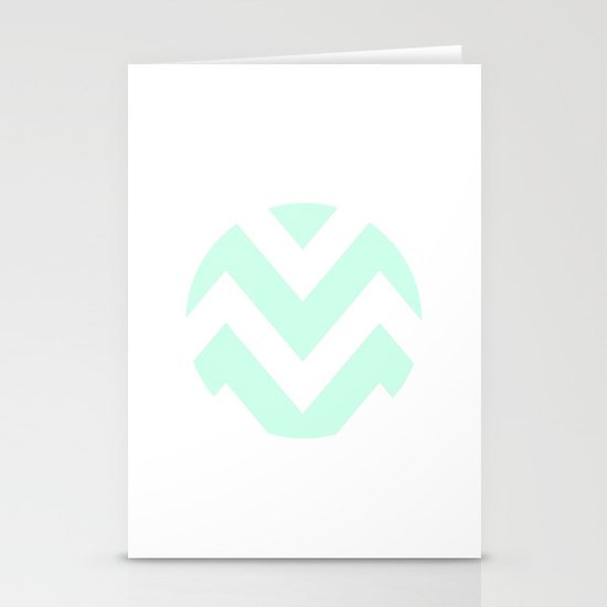 WHITE CIRCLE CHEVRON Stationery Cards