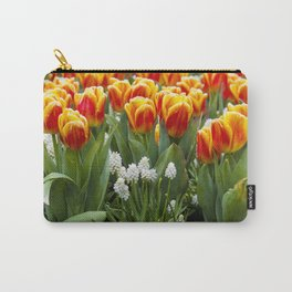 Red and Yellow Stripes Tulips with White Blossoms underneath in Amsterdam, Netherlands Carry-All Pouch