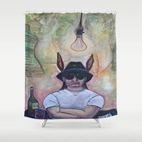 jack Shower Curtains featuring JACK! by Krista Moros