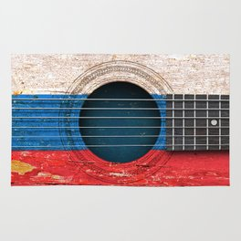 Old Vintage Acoustic Guitar with Russian Flag Rug