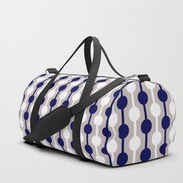 Geometric Multi Droplets Pattern - Navy Blue Cream White Duffle Bag