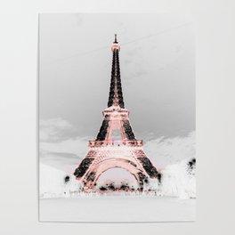 pariS Black & White + Pink Poster