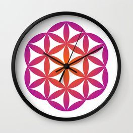 Flower of life in orange and purple gradient  Wall Clock