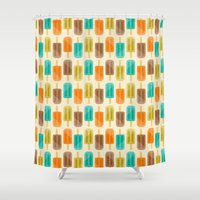 popsicle Shower Curtains featuring Popsicle by Liz Urso