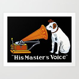 Retro his master's voice, Nipper the Dog Art Print