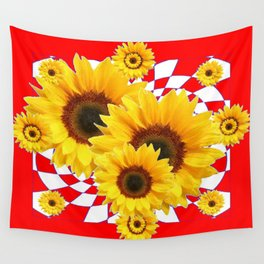 YELLOW SUNFLOWERS RED OPTICAL ABSTRACT PATTERNS Wall Tapestry