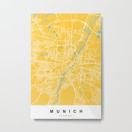 Munich, Germany Map | Yellow & Blue | More Colors, Review My Collections Metal Print