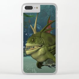 Awesome fish in the deep ocean Clear iPhone Case