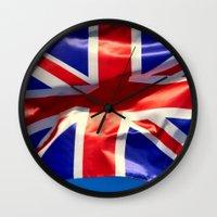 england Wall Clocks featuring England Flag by Fine2art