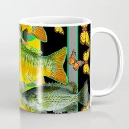 YELLOW & ORANGE MONARCH BUTTERFLIES FISH VIGNETTE Coffee Mug