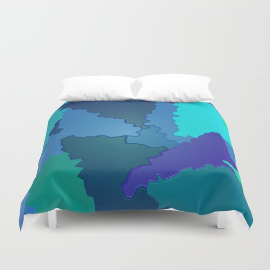 Blues and Greens Puzzle Patchwork Duvet Cover