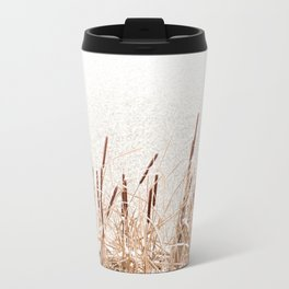 Snow on Typha reeds and frozen water Travel Mug