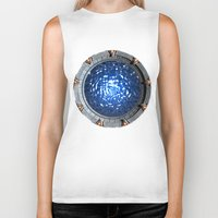stargate Biker Tanks featuring Gate of the Gods by Naavech Verro
