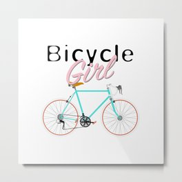 Bicycle Girl - June 12th - 200th Birthday of the Bicycle Metal Print