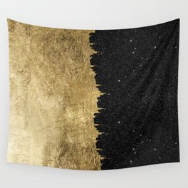 Faux Gold & Black Starry Night Brushstrokes Wall Tapestry